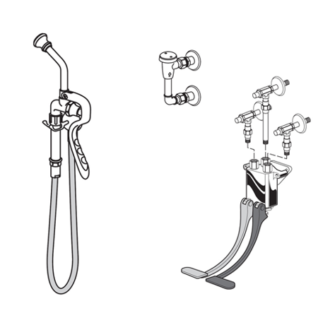 American Standard Bed Pan Cleanser with Self-Closing Spray Valve and Wall Mounted Pedal Valve in Chrome