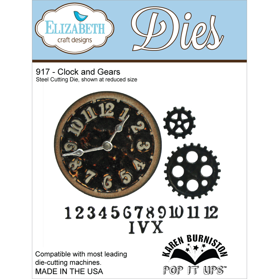 Elizabeth Craft Designs Metal Die-Clock and Gears Multi-Colored