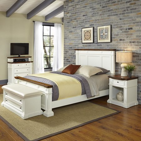 Home Styles Americana King Bed, Night Stand, Media Chest and Upholstered Bench