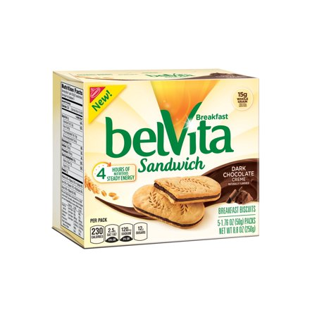(2 pack) Belvita Dark Chocolate Creme Breakfast Biscuit Sandwiches, 8.8 Oz ()