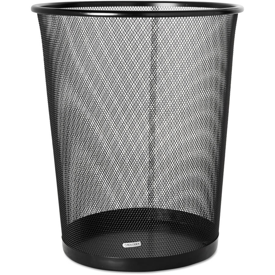Rolodex Round Mesh Steel Wastebasket, 4.5 Gallon, Black