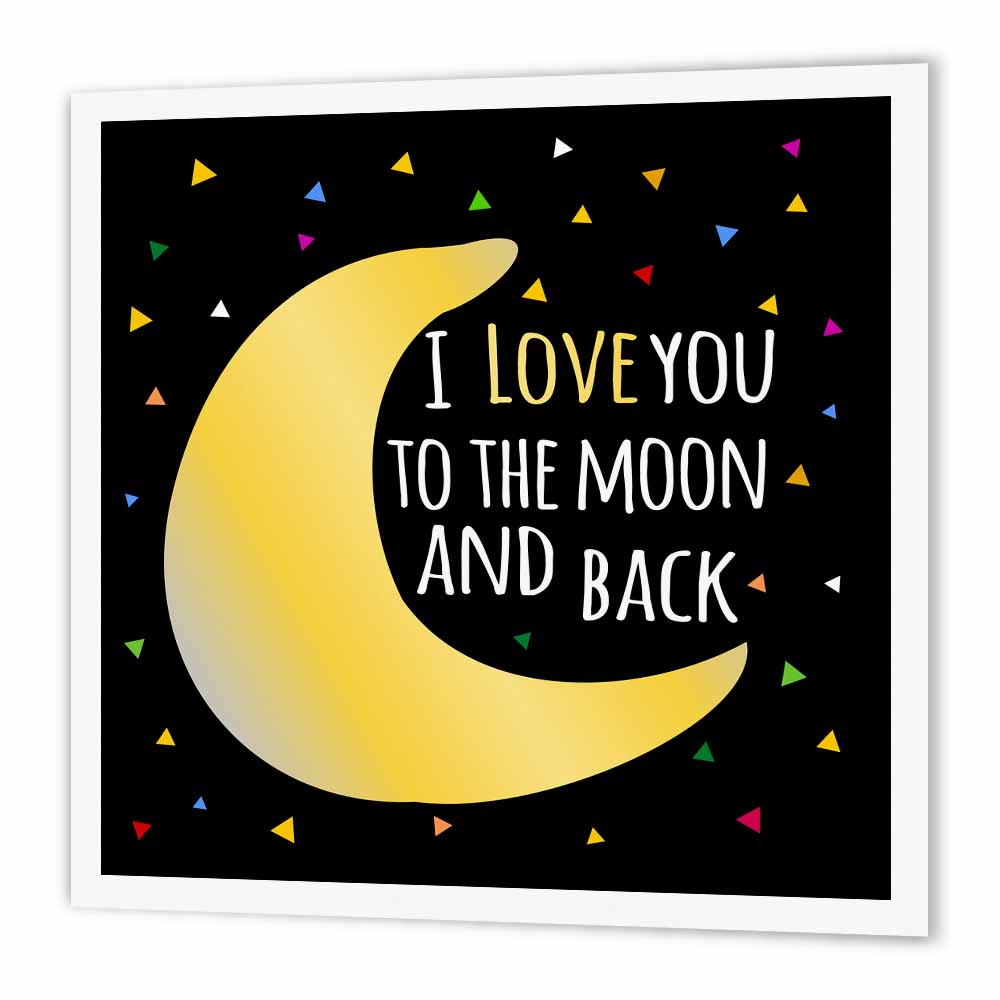 3dRose I love you to the moon and back - cute saying with triangle stars, Iron On Heat Transfer, 6 by 6-inch, For White Material