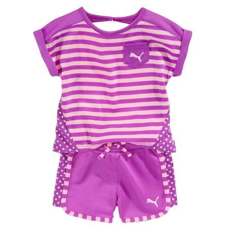 Puma Infant Girls Purple Stripe T-Shirt & Shorts Set Athletic Baby Outfit 12m