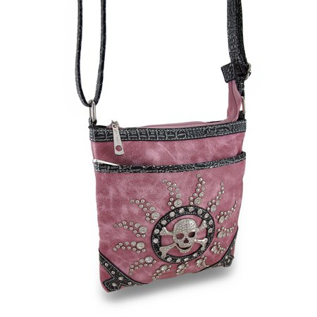 Leather Rhinestone Cross (Rhinestone Skull and Sunburst Leather Look Vinyl Cross Body Bag w/Mock Croc Trim )