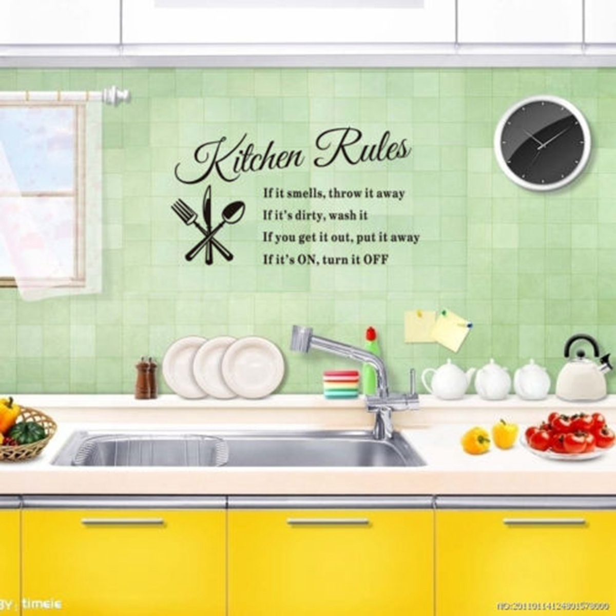 "Removable Kitchen Rules Words Wall Stickers Decal Home Decor,23.62""x12.99"""