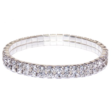 Crystal Rhinestone Bracelet - Silver Bracelets for Women Crystal Tennis Bracelet Mother's Day Gift for Mom Double Layer Rhinestone Crystal Bracelet Fashion Jewelry Online