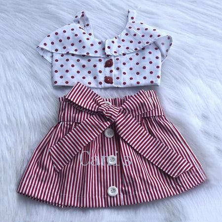 Fashion 2Pcs Toddler Kids Baby Girls Sleeveless Tops T-Shirt Stripe Dress Skirt Outfits