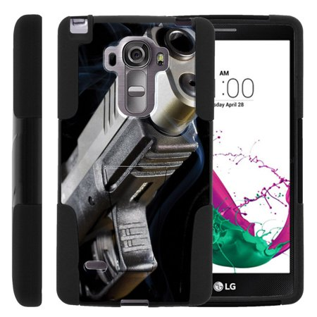 Lg G Vista 2 H740 Strike Impact Dual Layer Shock Absorbing Case With Built In Kickstand   Close Up Gun