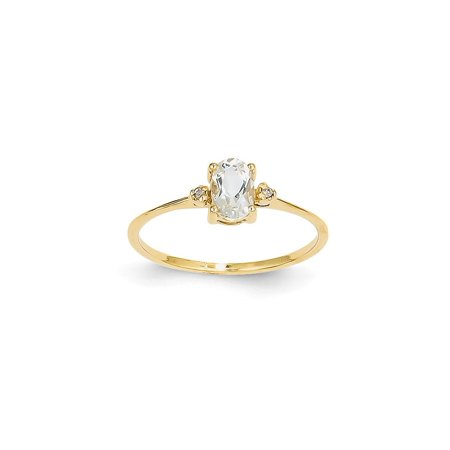 (ICE CARATS 14kt Yellow Gold Diamond White Topaz Birthstone Band Ring Size 6.00 Stone April Oval Style Fine Jewelry Ideal Gifts For Women Gift Set From Heart)