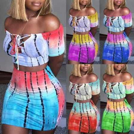 Fashion Women Sexy 2 Piece Bodycon Two Piece Crop Top and Skirt Set Lace Up Dress Party