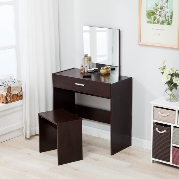 Mecor Vanity Table And Stool Set Makeup, Espresso Vanity Set With Lights
