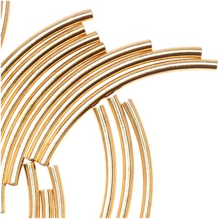Gold Plated Curved Noodle Tube Beads 1.5mm x 20mm (50) 20 Mm Curved Tube