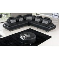 American Eagle Furniture Edgewood 6 Piece Sectional Sofa and Ottoman with Adjustable Headrests
