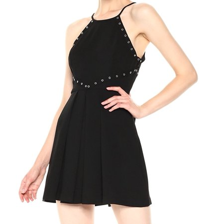 BCBG Generationb NEW Black Womens Size 8 Grommet-Trim A-Line Dress (Bcbg Star)