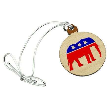 Republican Elephant GOP Conservative America Political Party Mini Small Tiny Wood Christmas Tree Holiday Ornament