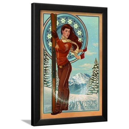 Art Nouveau Plate (Snowshoe, West Virginia - Art Nouveau Skier Framed Print Wall Art By Lantern)