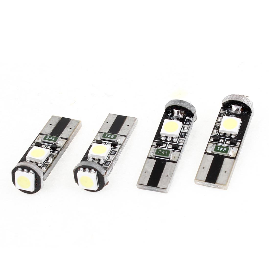 Unique Bargains Car Vehicles No Error Canbus W5W T10 5050 SMD 3 LED White Light Bulb 4 Pieces