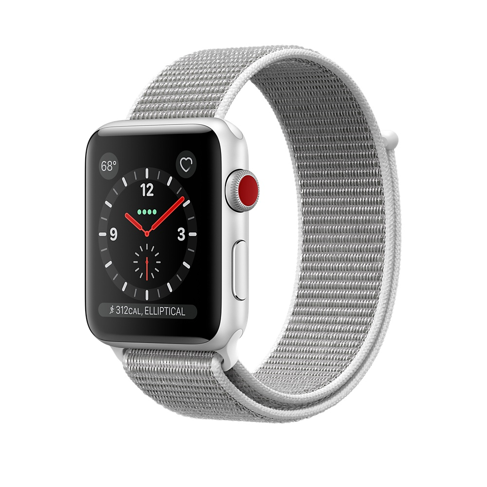 Apple Watch Series 3 42mm GPS + Cellular Silver Aluminum Case With Seashell Sport Loop MQK52LL/A