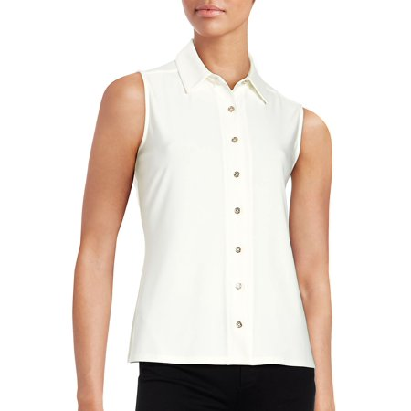 Bebe Sleeveless (Button-Down Sleeveless Blouse )