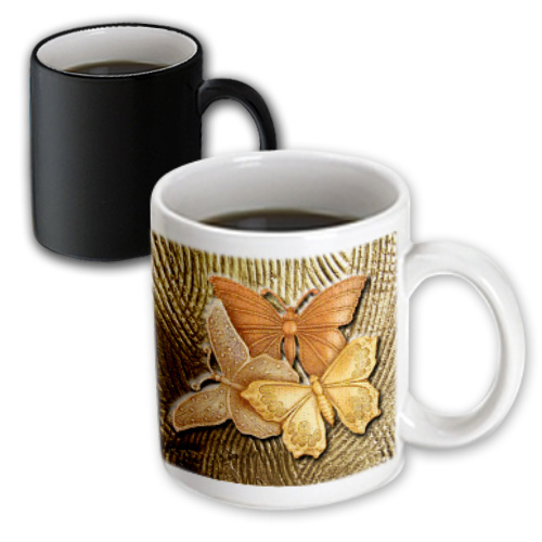 3dRose Gold Embossed background with accents and three beautiful butterflies in golds, yellows and copper., Magic Transforming Mug, 11oz