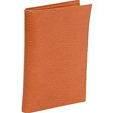(Budd Leather 552241L-28 Lizard Print Large Leather Passport Case - Tangerine)