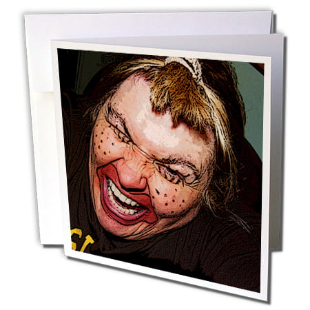 3dRose Lady Dressed Up Like Ugly Clown for Halloween With Her Face Very Animated, Silly and Scary - Greeting Card, 6 by 6-inch (Scary Face Paint Halloween)