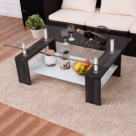 Costway Black Rectangular Tempered Glass Coffee Table w/Shelf Wood ...
