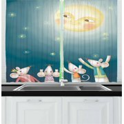 Fantasy Curtains 2 Panels Set, Abstract Illustration of Mouse Crowd Greeting Happy Full Moon in a Starry Night, Window Drapes for Living Room Bedroom, 55W X 39L Inches, Multicolor, by Ambesonne