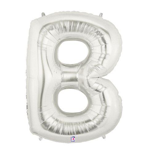 "Burton & Burton 40"" Letter B Shape  Silver Balloon"