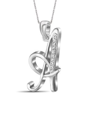White Diamond Accent Sterling Silver Initial Pendant