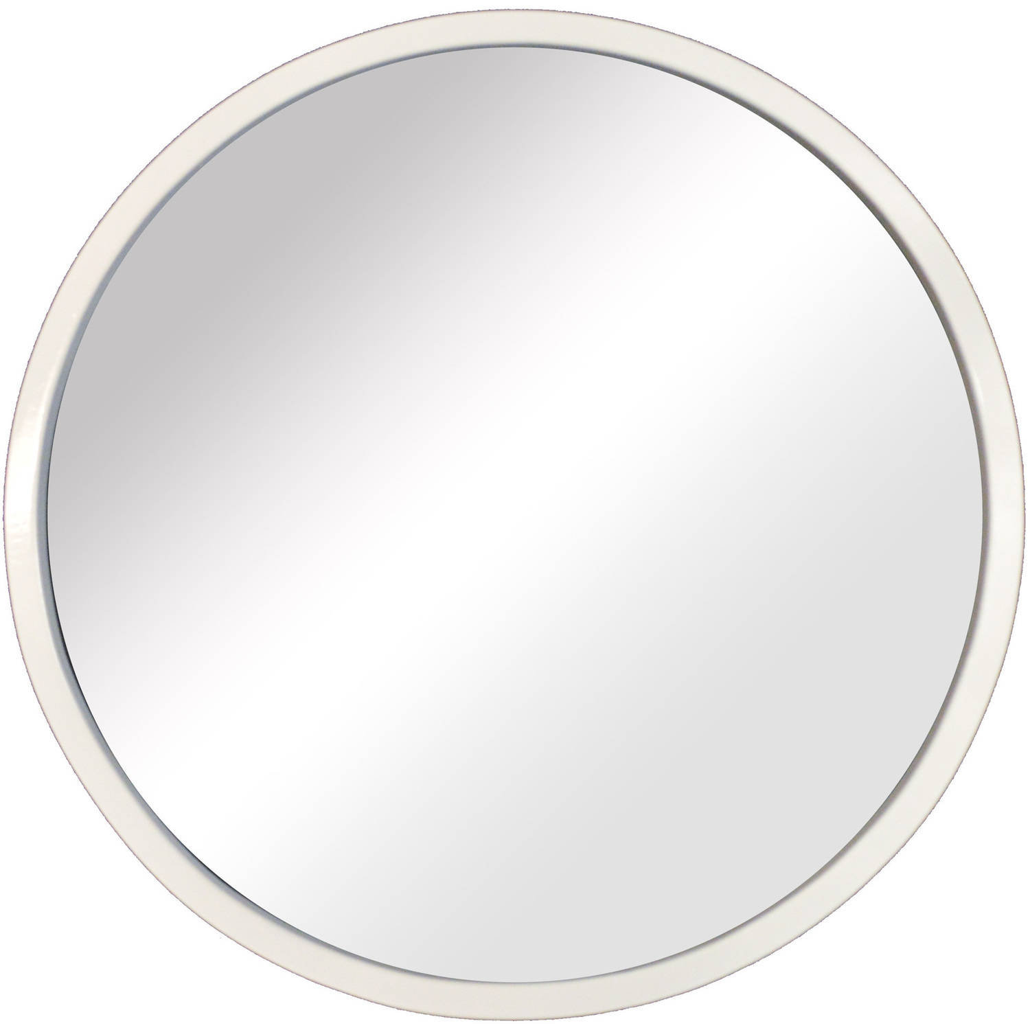 The Novogratz, Reflection Round Mirror In White, 14.375x14.375 Decorative Wall Mirror by PTM Images