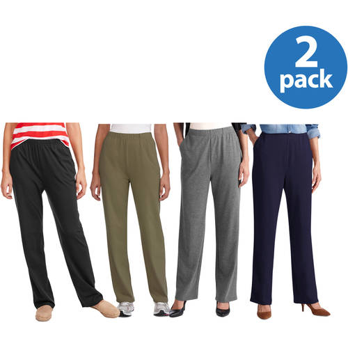 White Stag Women;s Knit Pull-On Pant Available in Regular and Petite 2 Pack Value Bundle
