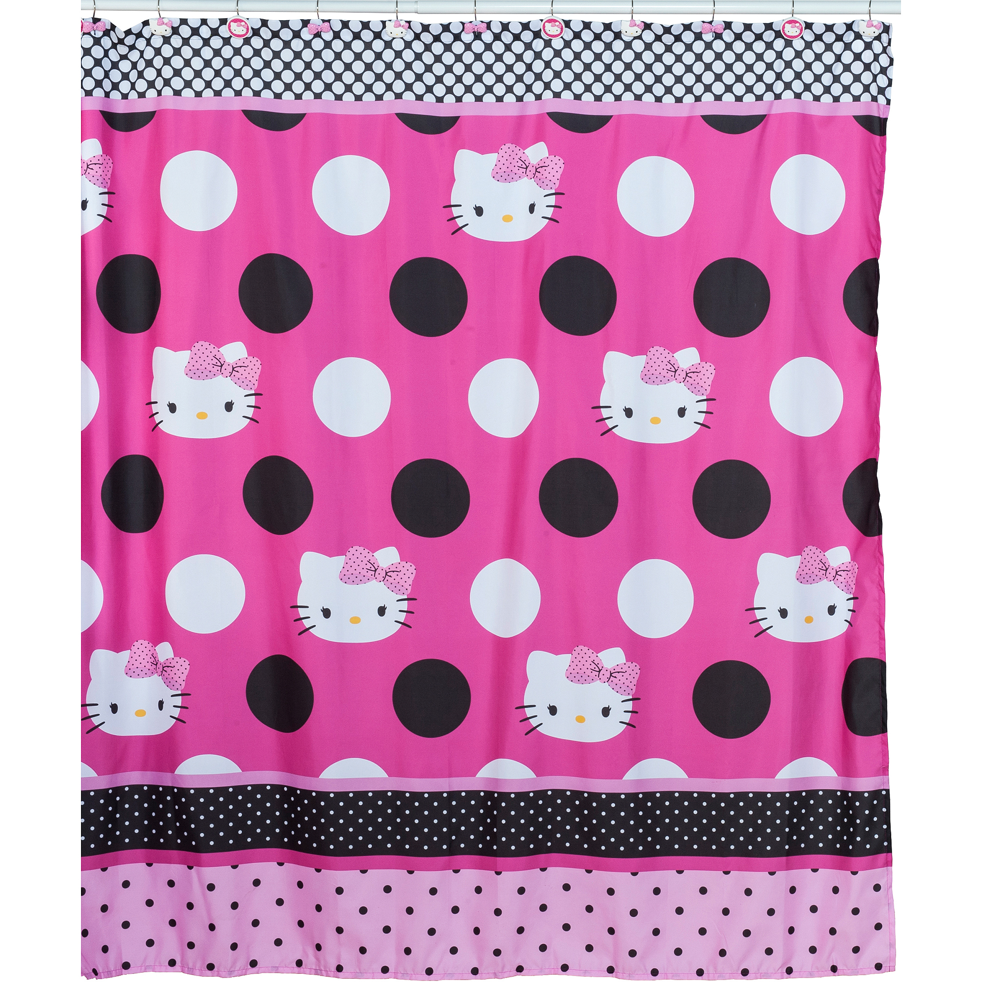 Bath Shower Curtains Hello Kitty Sanrio Fabric Pink And