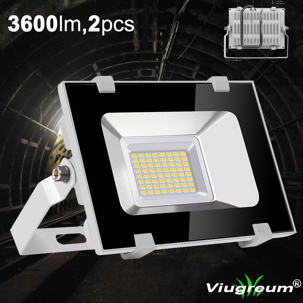 2 pcs Viugreum 30W LED Flood Light Outdoor Landscape Lamp 3600LM Cool White