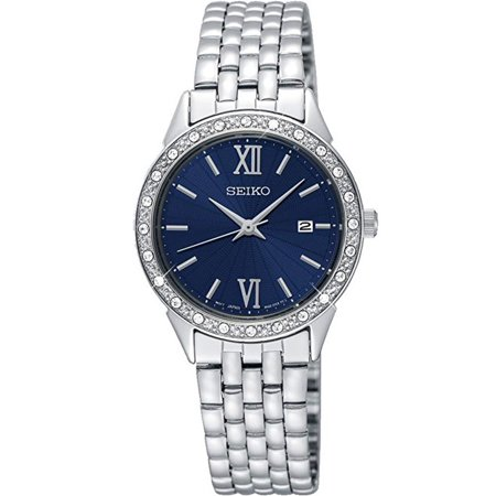 SEIKO SUR691P1,Ladies dress,stainless case and bracelet,silver tone,Crystal Accented Bezel,date,30m WR,SUR691