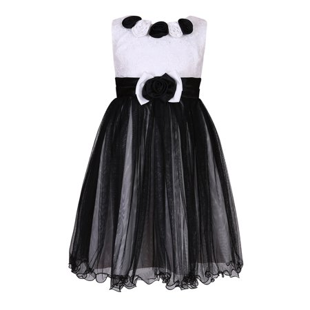 Little Girls Black White Roses Sweet Party Dress 3