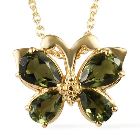 """Vermeil Yellow Gold Plated 925 Sterling Silver Pear Moldavite Pendant Necklace Anniversary Jewelry for Women Gift Size 20"""" Ct 2.8"""