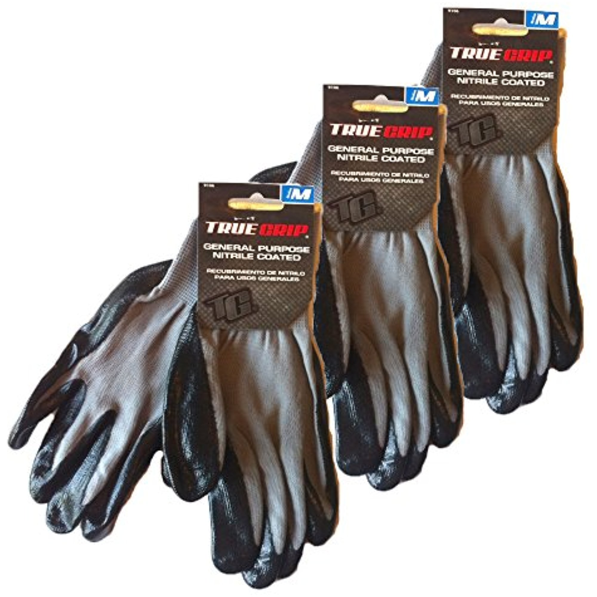 True Grip General Purpose Nitrile Coated Medium Work Gloves (3)