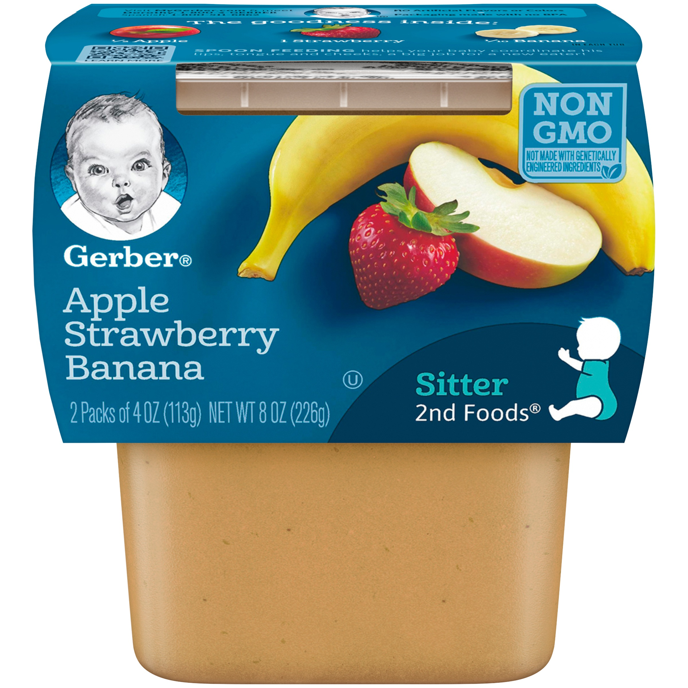 (8 Pack) Gerber 2nd Foods Apple Strawberry Banana Baby Food, 4 oz. Tubs, 2 Count