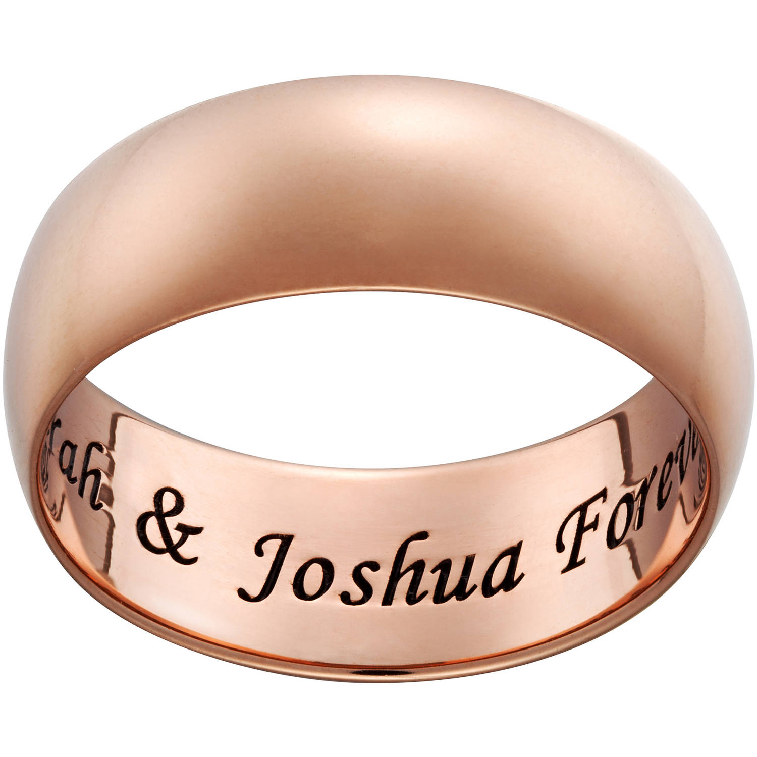 Personalized Rose Gold over Sterling Wide Engraved Message Ring, 7mm