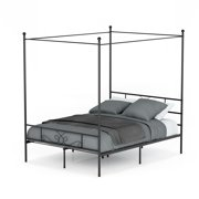 Teraves 4 Post Canopy Metal Bed Frame Queen Size Metal Bed