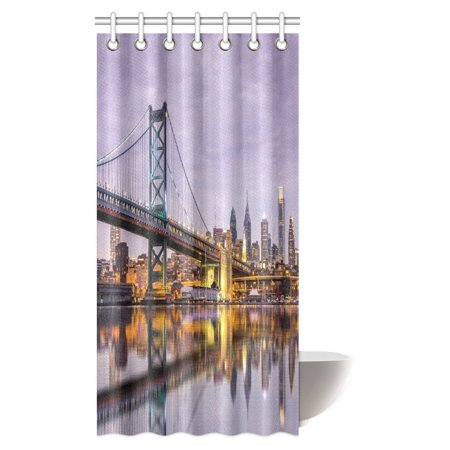 MYPOP Ben Franklin Bridge and Philadelphia Skyline Reflected in the Delaware River under a Purple Twilight Fabric Bathroom Set with Hooks, 36 X 72 Inches