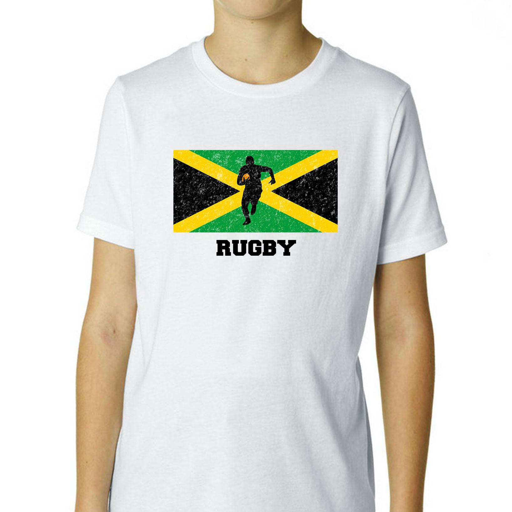 Jamaica  Olympic - Rugby - Flag - Silhouette Boy's Cotton Youth T-Shirt