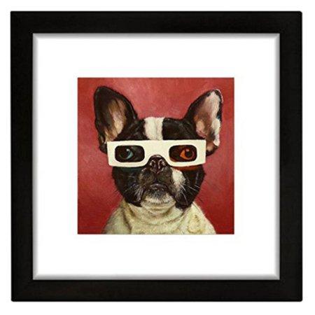 BuyArtForLess 3D Boston Terrier Framed Wall Art by Lucia Heffernan