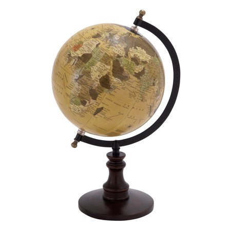 Sophisticated Wooden And Metal Globe With Black Base ()
