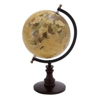 Sophisticated Wooden And Metal Globe With Black Base