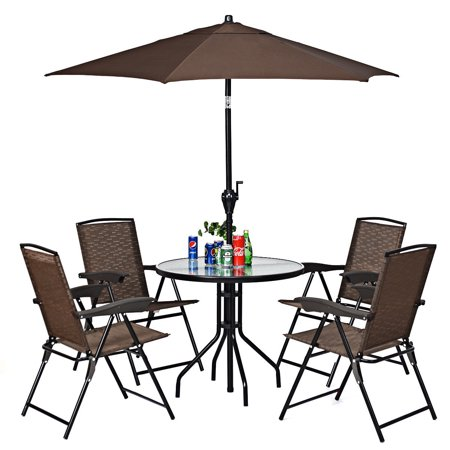 Gymax 6ft Outdoor Patio Backyard Garden Umbrella with Steady Iron Pipe Ribs - image 1 of 8