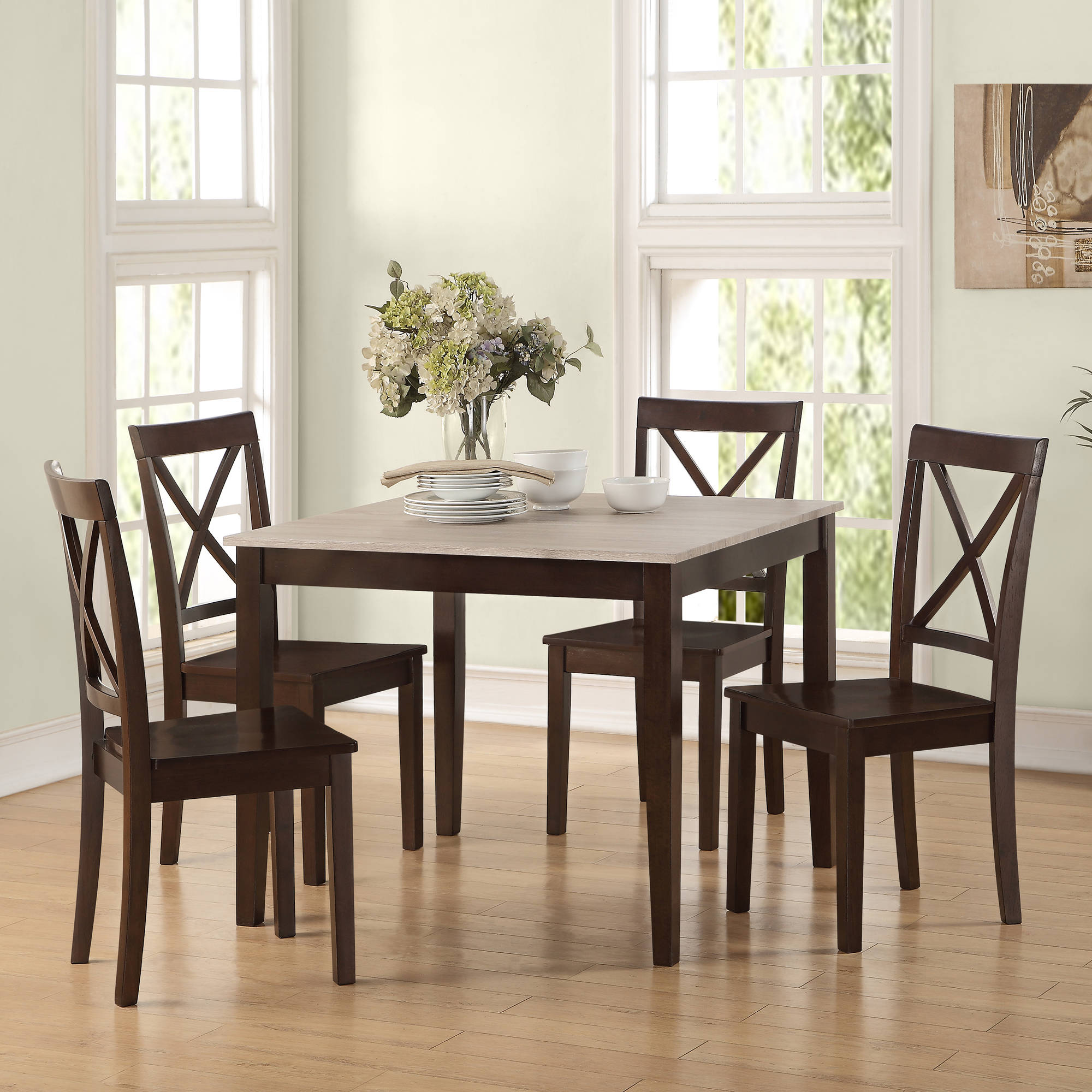 Powell turino 6 piece rectangle dining room set in grey for Dining room sets walmart