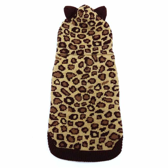 Dogo Dogo 57741bn Xl Leopard Hooded Dog Sweater Extra Large