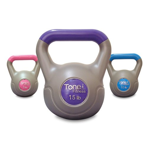 Tone Fitness Cement Filled Kettlebell Set - 30 lbs.